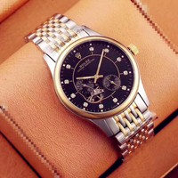 KUYOU R006 Rolex Oyster Perpetual Honorable Gentleman Mens Watch Black Sliver Gold