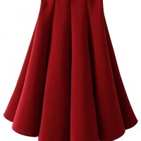 Solid Pleated A-Line Skirt - OASAP.com