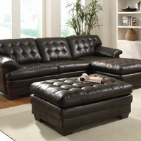 2 pc Nigel collection dark brown bonded leather match upholstered tufted seat and back sectional sofa set
