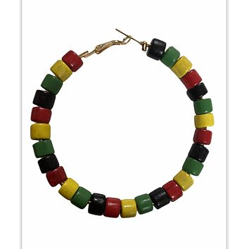 Beaded Earrings - Pan African Colors (Red, Yellow, Green and Black)