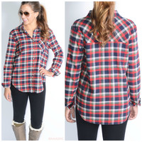 SZ LARGE Plaid To The Bone Red Flannel Top