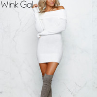 Wink Gal Winter Off Shoulder Knitted Bodycon Dress Sweaters Women Long Sleeve Autumn Sexy Dress Party Short  Dresses W10418
