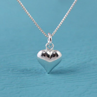 Small Sterling Silver heart necklace, Valentines Day gift ideas for her, Love necklace, silver necklace, jewelry birthday thank you gift