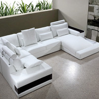 Divani Casa Diamond - Modern Bonded Leather Sectional Sofa Set With Light
