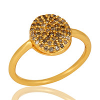 18K Yellow Gold Plated Sterling Silver Pave Set Diamond Stackable Ring