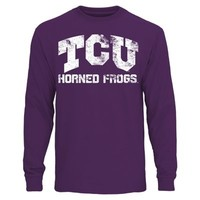 Mens TCU Horned Frogs Purple Straight Out Long Sleeve T-Shirt