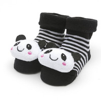 """Black and White Sock with 3D """" Panda Bear """"   for Baby Girls or Boys"""