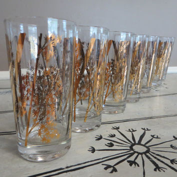 Vintage Libbey Drinking Glasses Bamboo Shoots Gold Glasses Bird Oriental Glassware Mid Century Barware Vintage Barware