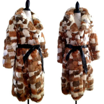 ViNtAgE 70's Patchwork Rabbit Fur Coat Multi Long Fur Belted Coat Chubby Shaggy Fluffy Soft Tench Princess Sears M