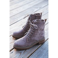 Ben Lace Up Faux Suede Combat Boot, Taupe
