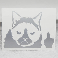 Small Grumpy Cat Throws The Bird 2.5x3.5 Inch Permanent Vinyl Decal/Bumper Sticker