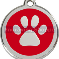 Red Paw Print Enamel and Stainless Steel Personalized Custom Pet Tag with LIFETIME GUARANTEE ID Tag Dog Tags and Cat Tags Free Engraving