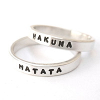 Best Friend Rings - HAKUNA MATATA, Sterling Silver, Don't Worry Be Happy, Couples Rings, quote ring, custom ring,