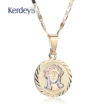 Jesus Cross Necklace Pendant For Women Men African Beads Trendy  Gold Plated Vintage Holiday Party Statement Accessories
