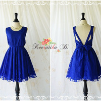 A Party V Shape Bright Royal Blue Lace Dress Roses Lace Party Dresses Cocktail Prom Dress Wedding Bridesmaid Dresses Backless Dress XS-XL