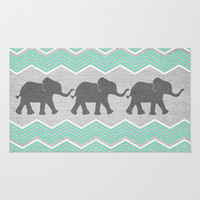 Three Elephants - Teal and White Chevron on Grey Area & Throw Rug by Tangerine-Tane | Society6