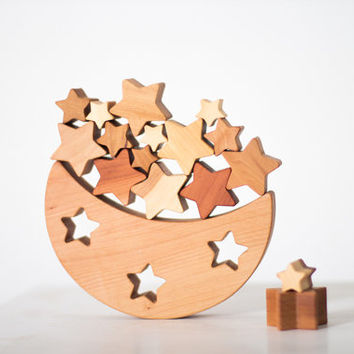 Wooden Balance Toy Moon and stars Montessori wood toy Fine Motor skills Learning set Handmade wooden toy for toddlers
