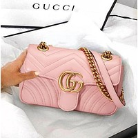 Gucci Classic Women Shopping Leather Shoulder Bag Crossbody Satchel Pink
