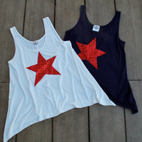 NEW Sequin Star Tank Tee T Shirt - USA 4th of July America - Navy Blue