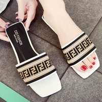 Fendi New fashion more letter sandals slippers women White