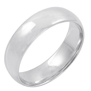 Men's 10K White Gold 6mm Comfort Fit Plain Wedding Band  (Available Ring Sizes 8-12 1/2)