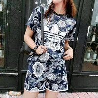 """Adidas"" Fashion Retro Casual Clover Letter Flower Print Short Sleeve Sweater Set Two-Piece Sportswear"