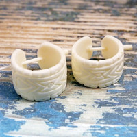 Hoop Earrings Hand Carved Buffalo Bone Post Earrings Aztec Geometric Tribal Style  - PE027 B ALL