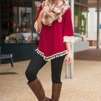 Berry Well Top, Burgundy