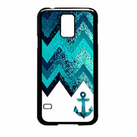 Chevron Navy Anchor Sparkly Samsung Galaxy S5 Case