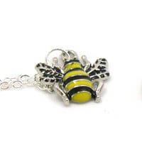 Bumble Bee Necklace, Honeybee Necklace, Charm Jewelry, Antique Silver Bumble Bee Necklace, Silver Bee Jewelry, Jewelry Gift, Gift Under 20