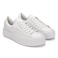 White Thick Platform Sneakers