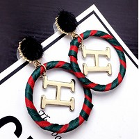 Hermes New fashion H letter red green circle long earring