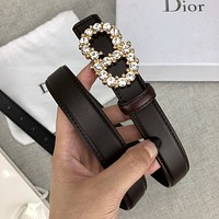 Dior fashion casual ladies belt with diamond-lettered buckle belt