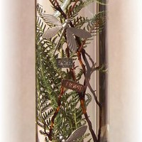 """Large Cylinder Oil Candle-Dragonflies, 12""""x4"""", 128oz"""