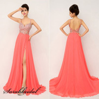 Sexy Coral V-back Long Party Prom Dresses Women High-slit Evening Cocktail Dress