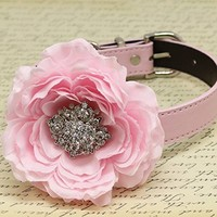 Light Pink Floral Dog Collar with Rhinestone, Wedding Pet accessory, Puppy Love, Peony