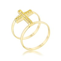 Francis CZ Contemporary Cross Ring | .8ct | 18k Gold