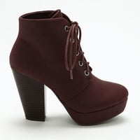 Burgundy Lace Up Platform Booties