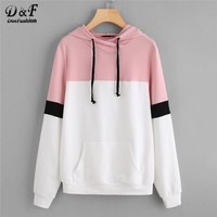 Dotfashion Drawstring Colorblock Pocket Front Cut And Sew Hoodie Women Hooded Pullovers Autumn Long Sleeve Preppy Top Sweatshirt