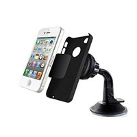 Magnetic Phone Holder with Strong Suction Cup to Mount on Dashboard or Windshield for Smartphones of Various Sizes, like iPhone, Samsung, HTC, Nexus