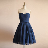 Navy blue bridesmaid dress , A-line Sweetheart  short bridesmaid dress with zipper - Bridesmaid Dresses-party dress-chiffon bridesmaid dress
