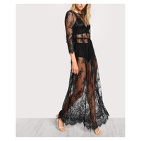 Black Sheer Floral Lace Maxi Dress