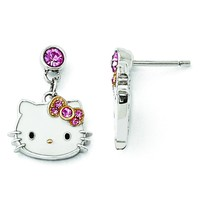 Sterling Silver Hello Kitty Enamel/Pink Crystal w/Gold-tone Post Earrings QHK118