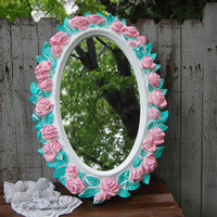 Shabby Chic Mirror, White, Pink, Green, Oval, Upcycled, Vintage, Ornate, Roses, Homco, Wedding Decor, Painted Mirror, Hollywood Regency