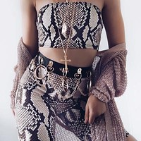 Autumn new snake-printed tube top straight slim shorts casual suit female