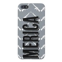 Merica iPhone 5 case with gray gun chevron pattern from Zazzle.com