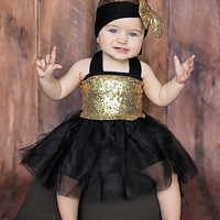 Black & Gold Sequins Sparkle Tutu Set