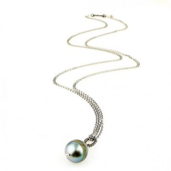 Tahitian Pearl and Champagne Pave Diamond Necklace