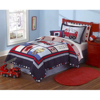 Pem America QS3746TW2300 My World Fireman Twin Quilt with Pillow Sham