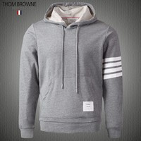 Thom Browne autumn new men's classic striped cashmere drawstring hooded sweater Grey